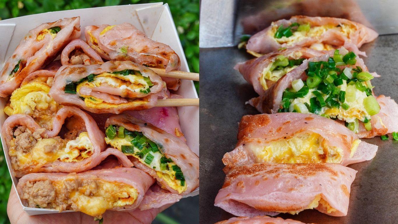 【台南美食】永康也有超美火龍果蛋餅「袋走手工蛋餅」開幕當天買一送一/12種選擇25元起!大推泰式打拋豬|台南蛋餅|永康區美食