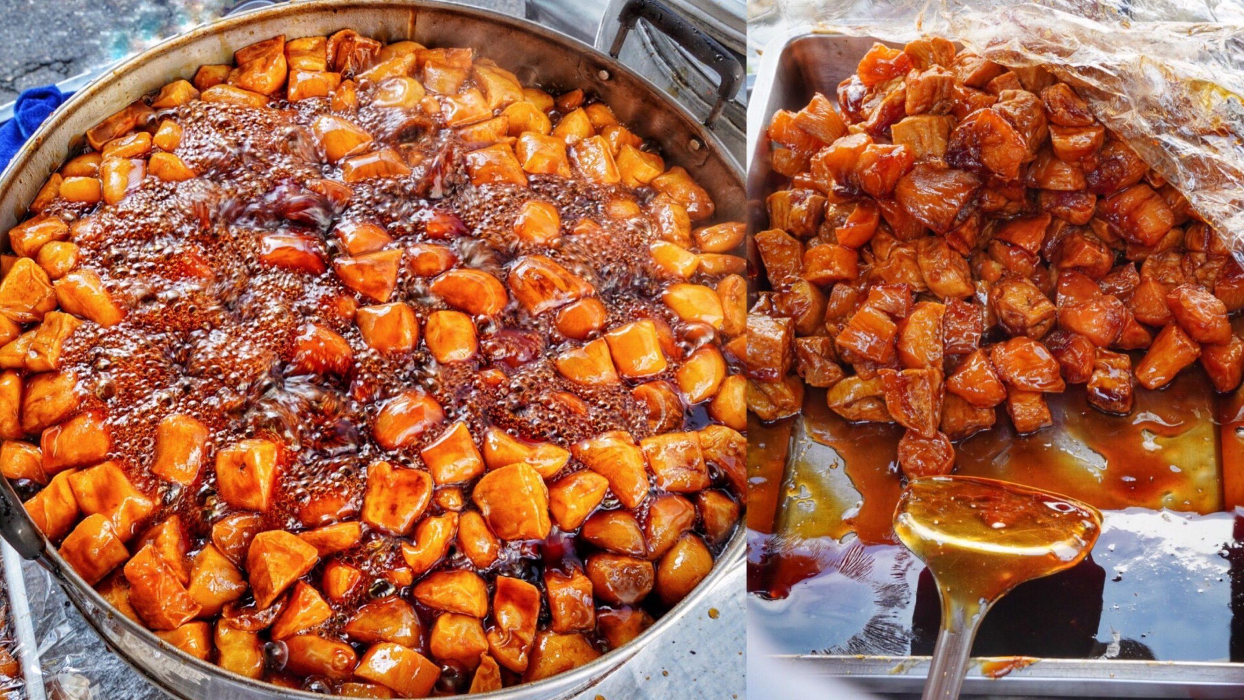 台南最好吃【百頁蕃薯糖】限假日開賣!!整鍋琥珀色超誘人 飄香40年的古早好滋味|關廟美食