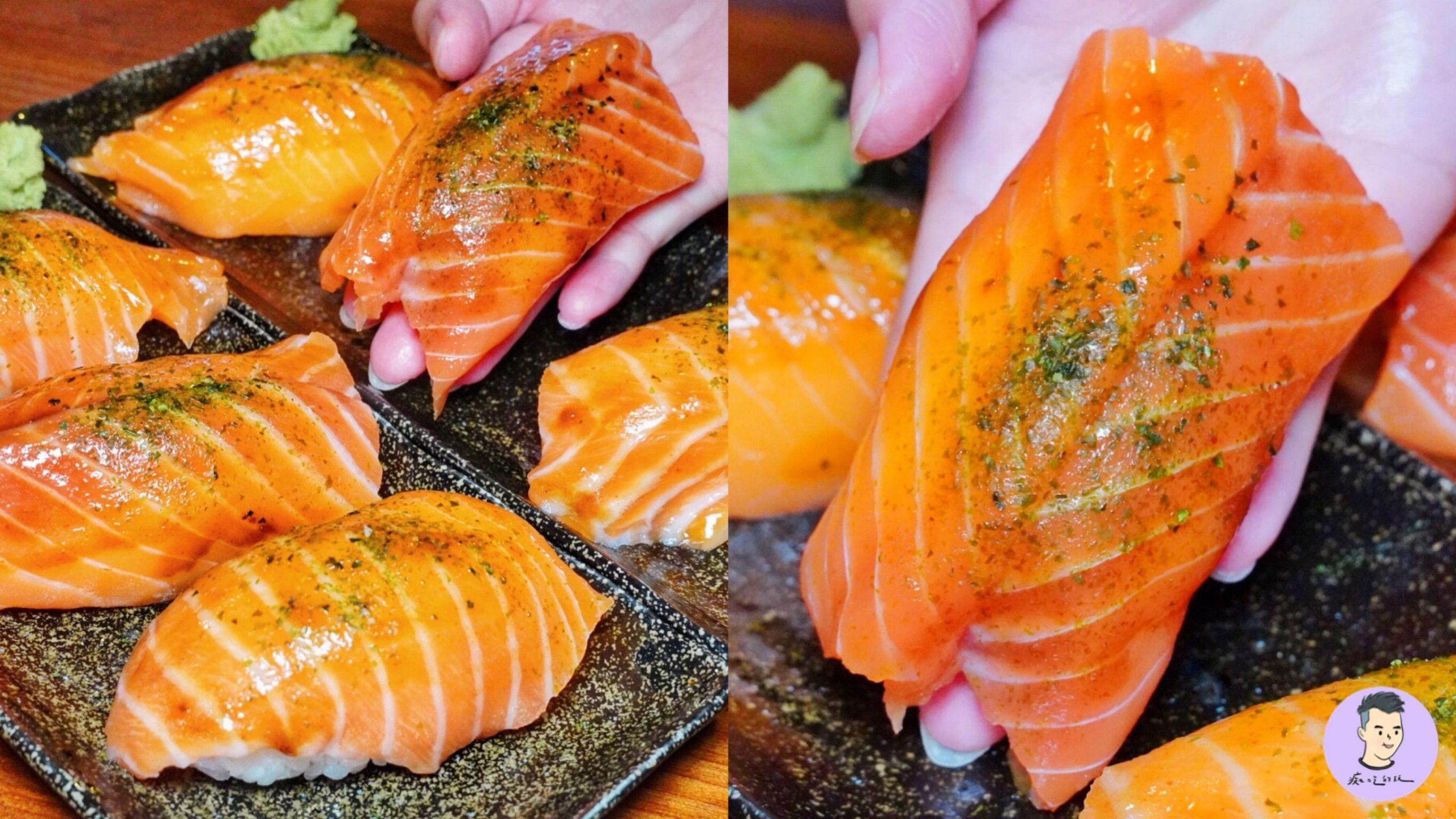 【台南美食】台南巨無霸鮭魚握壽司!半個手掌大超浮誇 你有吃過這樣的鮭魚壽司嗎?- 昭和九十八居酒屋