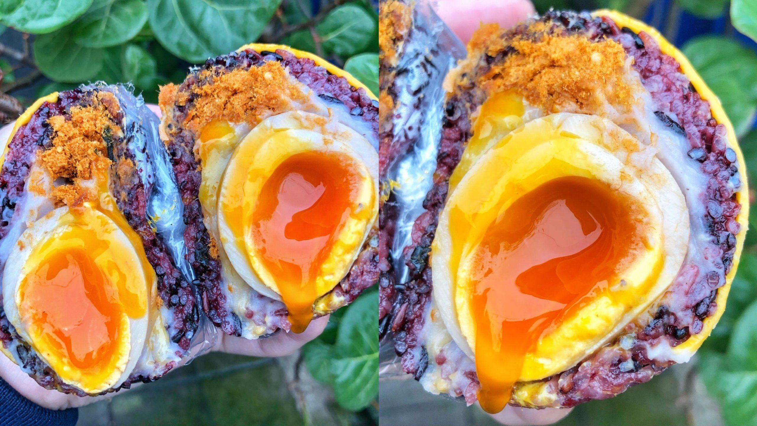 【台北美食】肉鬆豔芋溏心紫米飯糰「金花碳烤吐司專賣」蛋液流出超邪惡!這家早餐店賣的餐點都超罪惡