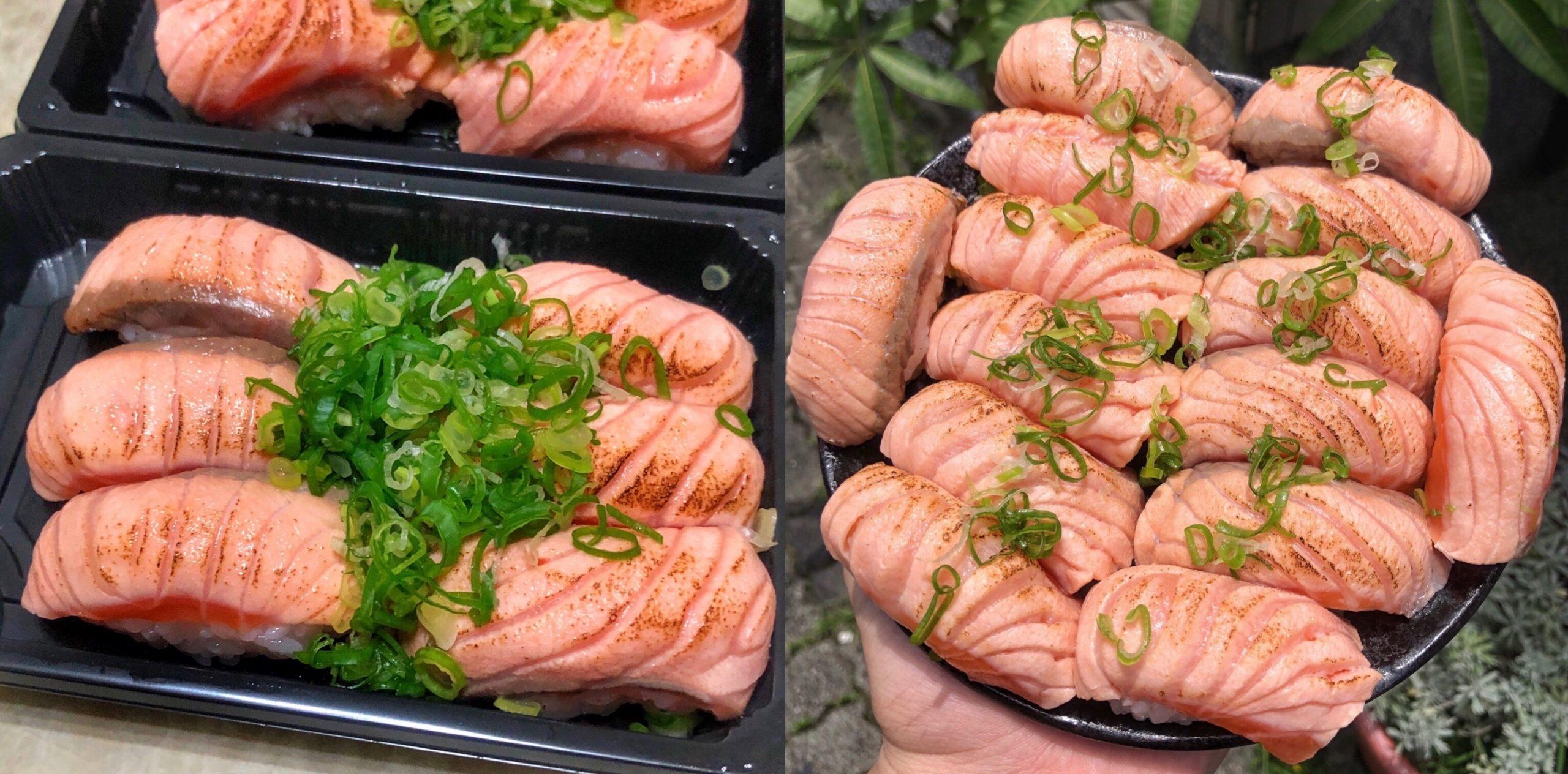 【一週只開四天】台南超俗的16元炙燒鮭魚壽司!! 6貫只要100元 便宜又好吃│友愛市場│立吞壽司│台南美食